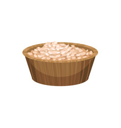 Rice porridge in wooden bowl food icon body and vector
