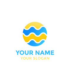 round logo with waves on white vector image