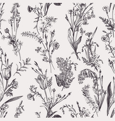 seamless botanical pattern black and white vector image