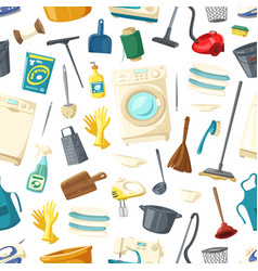 seamless pattern of home cleaning washing vector image