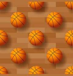 seamless pattern with basketball ball ideal vector image