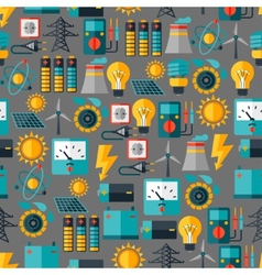 Seamless pattern with power icons in flat design vector image
