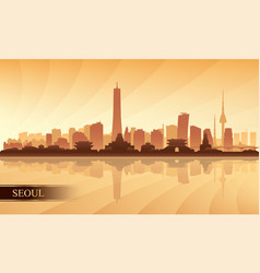 Seoul city skyline silhouette background vector