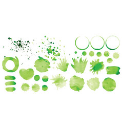 set green splashes on white background vector image