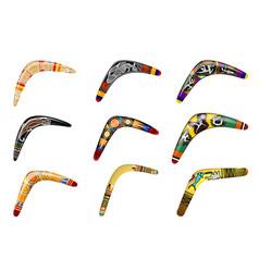set native boomerangs primitive weapon vector image
