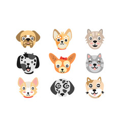 Set of cute cartoon dogs heads colorful character vector