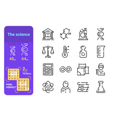 set science simple lines icons theory and vector image