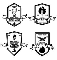 set vintage doner kebab labels design element vector image