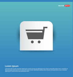 Shopping cart icon - blue sticker button vector