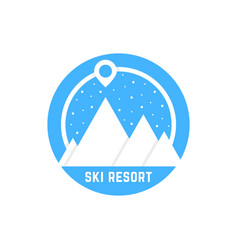 simple ski resort logo vector image