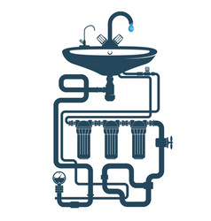 Sink with faucet and water pipe system vector