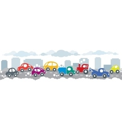 Small funny cars on the urban city road background vector