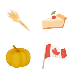 Spike of wheat a piece of pie with cranberries vector