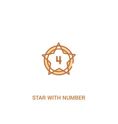 Star with number four concept 2 colored icon vector