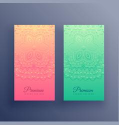 stylish colorful mandala cards design vector image