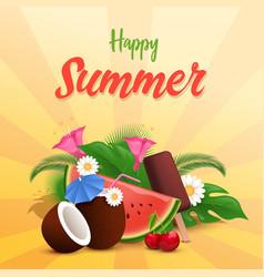 Summer treats banner template watermelon vector