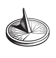 Sundial sun clock black and white hand drawn vector