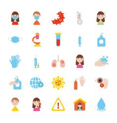 syringe and coronavirus icon set flat style vector image