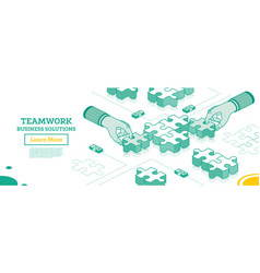 teamwork concept hands hold pieces puzzle vector image
