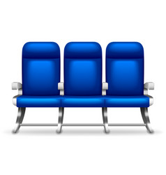 three airplane seats isolated on white vector image