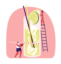 Tiny people on ladder put slice lime to big glass vector