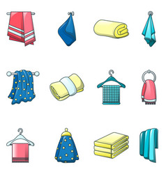 towel hanging spa bath icons set cartoon style vector image