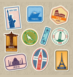 Travel stickers set with different worldwide vector