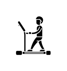 treadmill black icon sign on isolated vector image