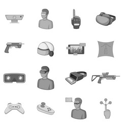 Virtual reality icons set monochrome vector