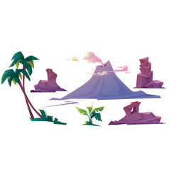 Volcano with smoke rocks and palm trees vector