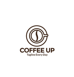 Warm coffee cup up view logo design vector