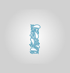 Water splash initial i letter logo icon vector