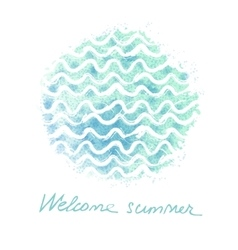 Watercolor hand drawn background with sea vector
