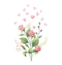 Watercolor hand painted bouquet from green vector