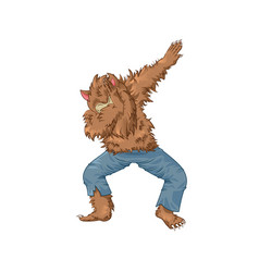 Werewolf wolfman character dancing dab step vector