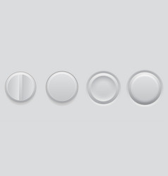 white plastic buttons 3d web interface elements vector image