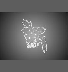 Wireframe mesh polygonal bangladesh map vector