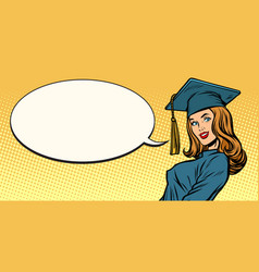 Woman graduate pop art vector