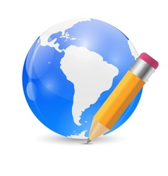 Yellow Pencil and Globe Publish Icon vector image