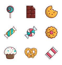 candy icons set flat style vector image vector image
