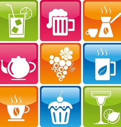food drinks icons vector image vector image