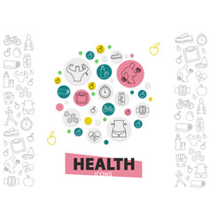 healthy lifestyle line icons collection vector image