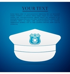 Police cap flat icon on blue background vector image