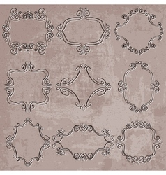 set of decorative frames on grungy background vector image