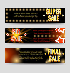 shining sale horizontal banners template design vector image