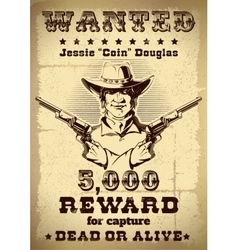 Vintage Wanted Poster vector image vector image