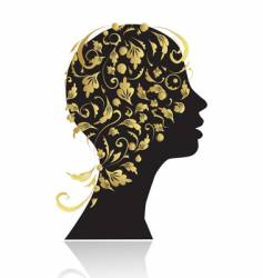 woman's head silhouette vector image vector image