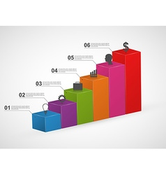 Bar charts 3D colorful infographics design vector image vector image