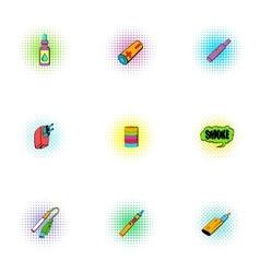Electronic cigarette icons set pop-art style vector