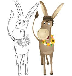 Fun outline donkey vector